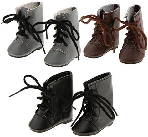 人形アクセサリー PUレザー製 ファッション レースアップ シューズ ブーツ 靴 14インチアメリカンガールのため 3ペア