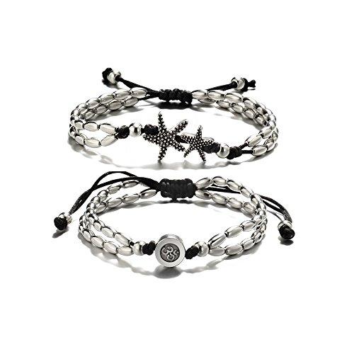 - BELOVING Vintage Boho Starfish Anklet Bracelet For Women Buddha Foot Yoga Jewelry Summer Barefoot Beach Anklet (2Pcs)