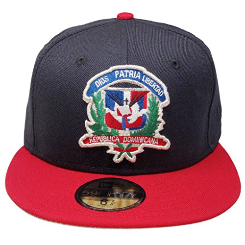 New Era Dominican Republic Flag Shield Custom 59Fifty Fitted - Navy, Red, Green, Silver (7 1/4) (Shield New Era)