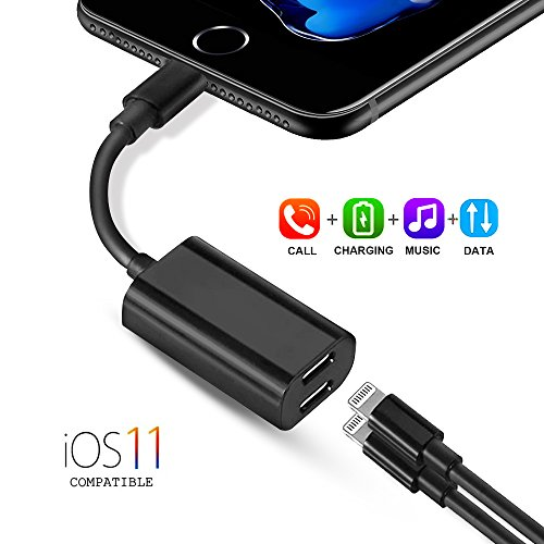 Splitter Earphone Ipod (iPhone 7 Adapter Splitter Dual Lightning Headphones Jack Audio Adadpter, Houbox 3 in 1 Apple Charging Cord for iPhone 7 8 Plus X iPod Support Music Calling Data Sync (Black))