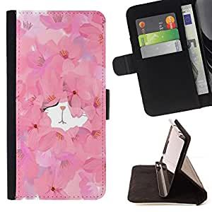 """For Samsung Galaxy Note 5 5th N9200,S-type Gatito lindo de la acuarela floral de la primavera"""" - Dibujo PU billetera de cuero Funda Case Caso de la piel de la bolsa protectora"""