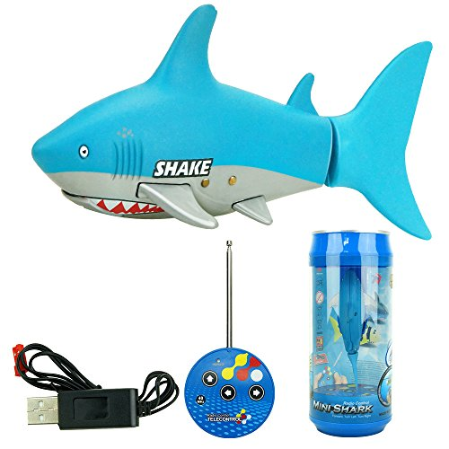 SOWOFA Remote Control RC Shark Electronic Toy Fish Ocean Animal Model Mini Radio Boat for Kids Toddler Children 27/40Mhz (Flying Fish Boat)
