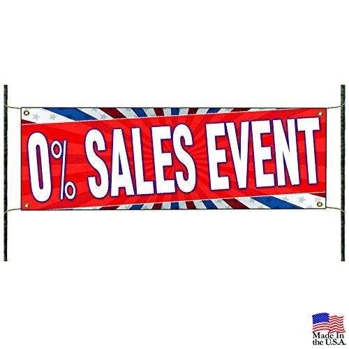 O% Sales Event Promotion Discount Offer Vinyl Banner Sign -