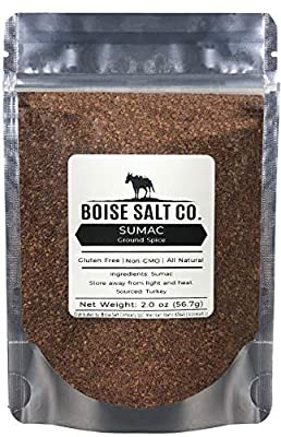 Boise Salt Co. Ground 100% Sumac Seasoning Powder All-Natural Gluten Free Non-GMO 2 Ounce Resealable Stand Up Pouch