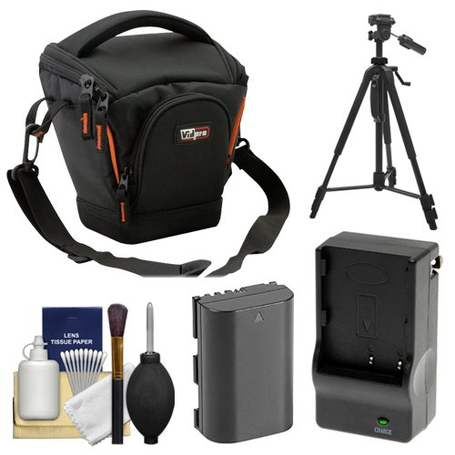 (Vidpro TL-25 Top-Load DSLR Camera Holster Case (Small) with LP-E6 Battery & Charger + Tripod + Kit for Canon EOS 70D, 80D, 5D Mark II III IV, 5DS, 5DS R, 6D, 7D Mark II)