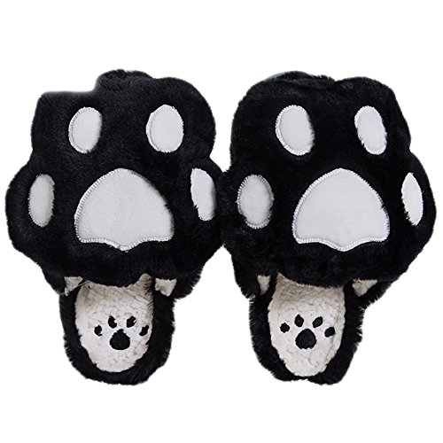 CHUANGLI Women Girls Cute Bears Paw Style Plush Slipper House Slippers Halloween Animal Costume Indoor Shoes Black WFjnOsQ60