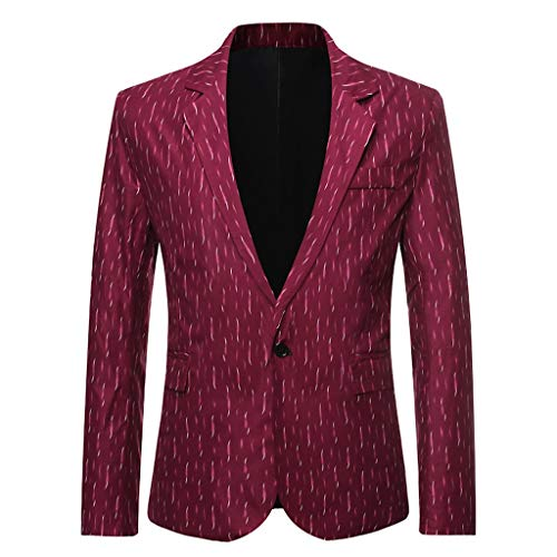 NEARTIME Men's Casual Suit Blazer Jackets Lightweight Sports Coats One Button Tops Printed Wedding Outwear