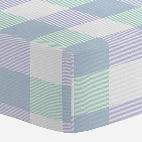 Carousel Designs Lilac and Mint Buffalo Check Crib Sheet - Organic 100% Cotton Fitted Crib Sheet - Made in The USA