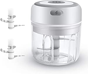 Electric Mini Garlic Chopper,250ML Handy Food Slicer for Pepper Chili Vegetable Nuts Meat with USB Charging