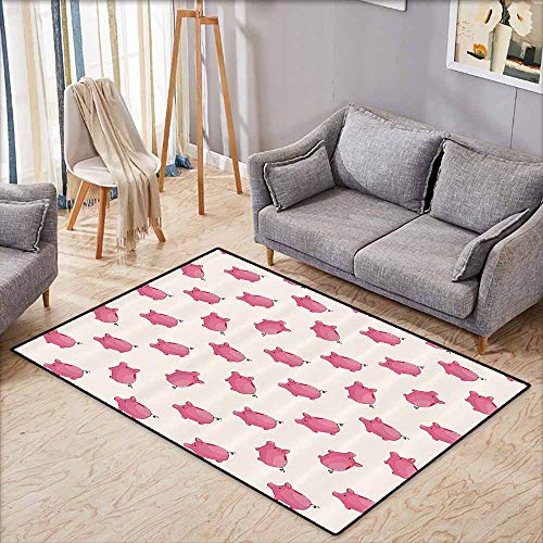 - Bath Rug Pig Decor Collection Piggy Bank Pattern Money Wealth Luck Symbols Fun Design Artwork Pink and White Country Home Decor W6'5 xL4'6