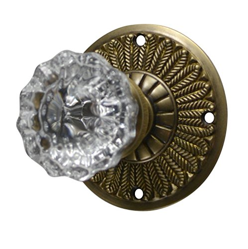 Regency Fluted Real Glass Door Knob Set with Feathered Plate Rosettes in Antique Brass (Privacy Bed/Bath)