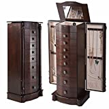 Jewelry Cabinet with Mirror Jewellery Box Organizer Wooden Jewelry Storage Armoire Hanging 8 Drawer