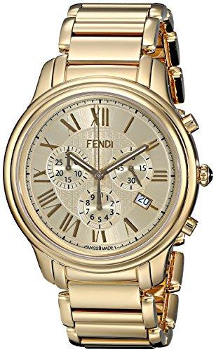 Mens Classico Analog Watch - Fendi Men's F252415000 Classico Analog Display Quartz Gold Watch