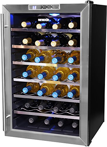 NewAir Wine Cooler and Refrigerator, 28 Bottle Freestanding Wine Chiller Fridge,...