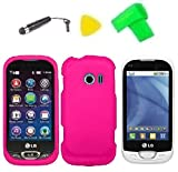 Phone Cover Case Cell Phone Accessory + Extreme Band + Stylus Pen + LCD Screen Protector + Yellow Pry Tool For LG FREEDOM II 2 UN280 (Pink)