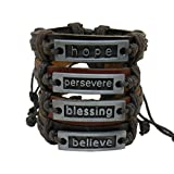 Set of 4 Leather Bracelets: Believe, Persevere, Blessing and Hope IN GIFT BOX