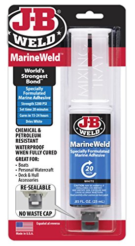 J-B Weld 50172 MarineWeld Marine Adhesive Epoxy Syringe – Dries White – 25ml