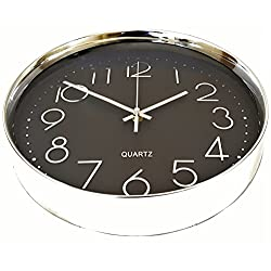 Wall Clock Silent Black with Silver Chrome Non-ticking Sweep Large Modern Style Decorative Executive Quartz 12 30cm Easy Read Shiny Round