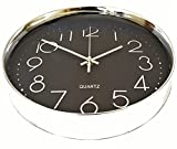 Wall Clock Silent Black with Silver Chrome Non-ticking Sweep Large Modern Style Decorative Executive Quartz 12'' 30cm Easy Read Shiny Round