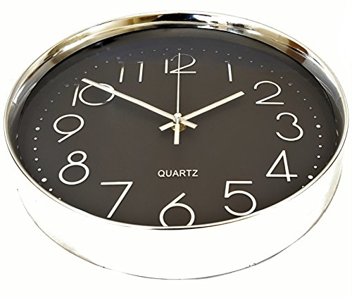 Wall Clock Silent Black with Silver Chrome Non-ticking Sweep Large Modern Style Decorative Executive Quartz 12'' 30cm Easy Read Shiny Round by Linear Co.