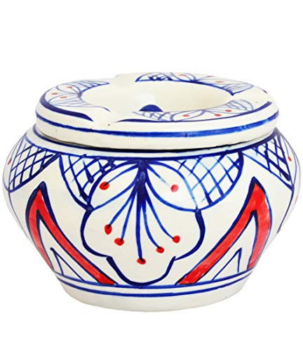 Etroves Large Ceramic Ashtrays - Premium Quality Table Top Moroccan Ashtray with Lid and 3 Holder Slots - 4 Inch Hand Painted Ash Tray for Outdoor and Indoor