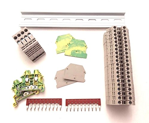 (Dinkle DIN Rail Block Kit #2 DIN Rail Terminal Block Kit Dinkle 20 DK4N 10 AWG Gauge Ground DK4N-PE Jumper DSS4N-10P End Covers End Brackets,30 Amp, 600V)