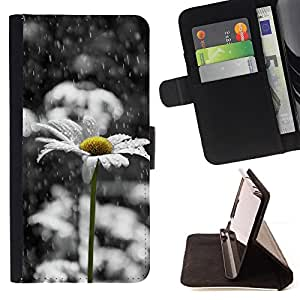 For Apple iPod Touch 6 6th Generation Daisy White Sad Beautiful Black Style PU Leather Case Wallet Flip Stand Flap Closure Cover