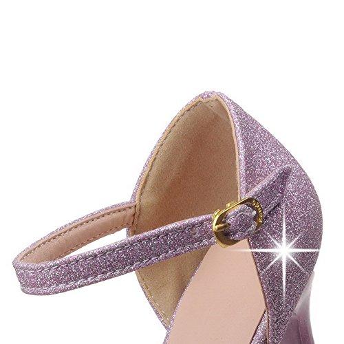 Scarpe Chiodato Flats AllhqFashion Tessuto Punta FBUIDC005306 Viola Donna Ballet Perla A Fibbia wSHwBTxXq