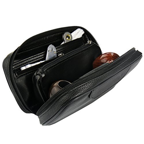 Joyoldelf Leather Tobacco Pipe Pouch, Luxury Pipe Bag with 2 Pipe Holder Pocket, Perfect for Storing Pipe & Accessories, Black