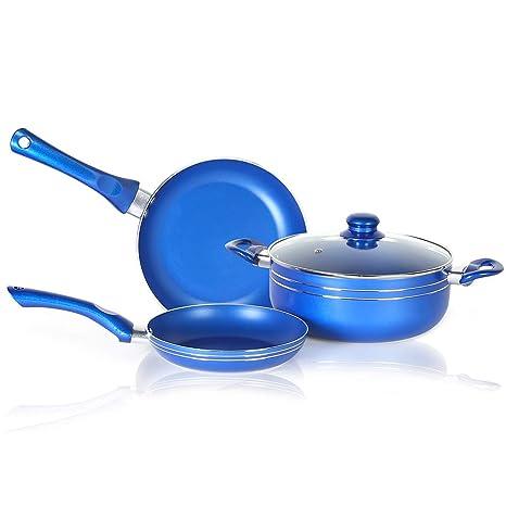 SIMPLE & Co Juego de Utensilios de Cocina Antiadherente de 4 Piezas en Color Azul,