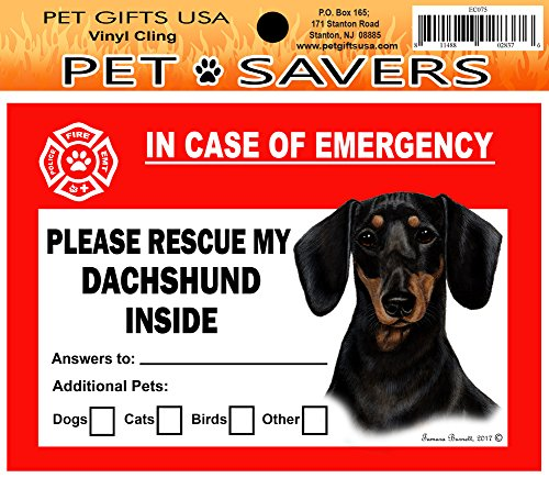 In Case of Emergency Home Window Pet Savers Rescue Cling Sticker, Dachshund - Black Tan