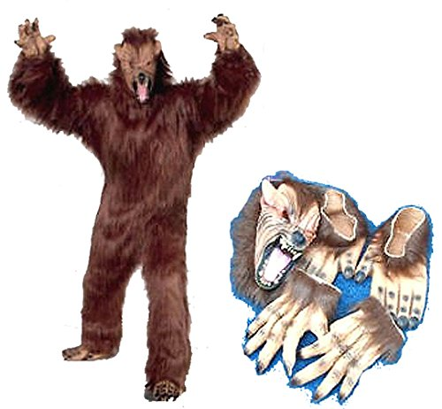 Professional Werewolf Adult Costume with Wolf Mask Feet Hands - Werewolf Suit