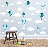 YOYOYU ART HOME DECOR Mix Size Big Clouds and Airballon Wall Sticker Nursery Room Kids Room Wall Decor Sticker Art Vinyl Wall Decal (White clouds Blue Airballon)