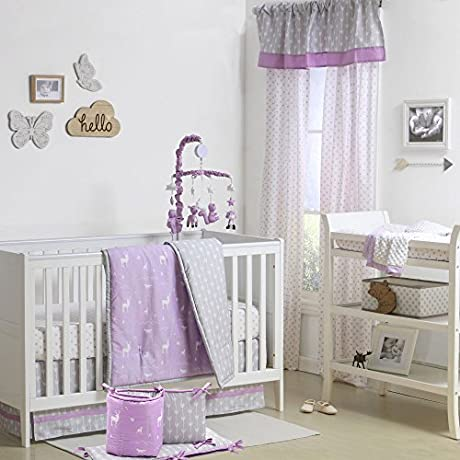 Purple And Grey Woodland Theme 5 Piece Baby Crib Bedding Set By The Peanut Shell