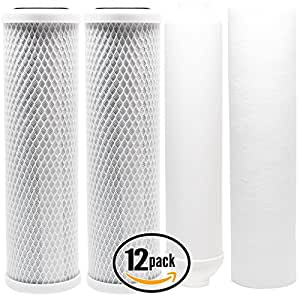12-Pack Replacement Filter Kit for AMI AAA-366UVE RO System - Includes Carbon Block Filters, PP Sediment Filter & Inline Filter Cartridge - Denali Pure Brand