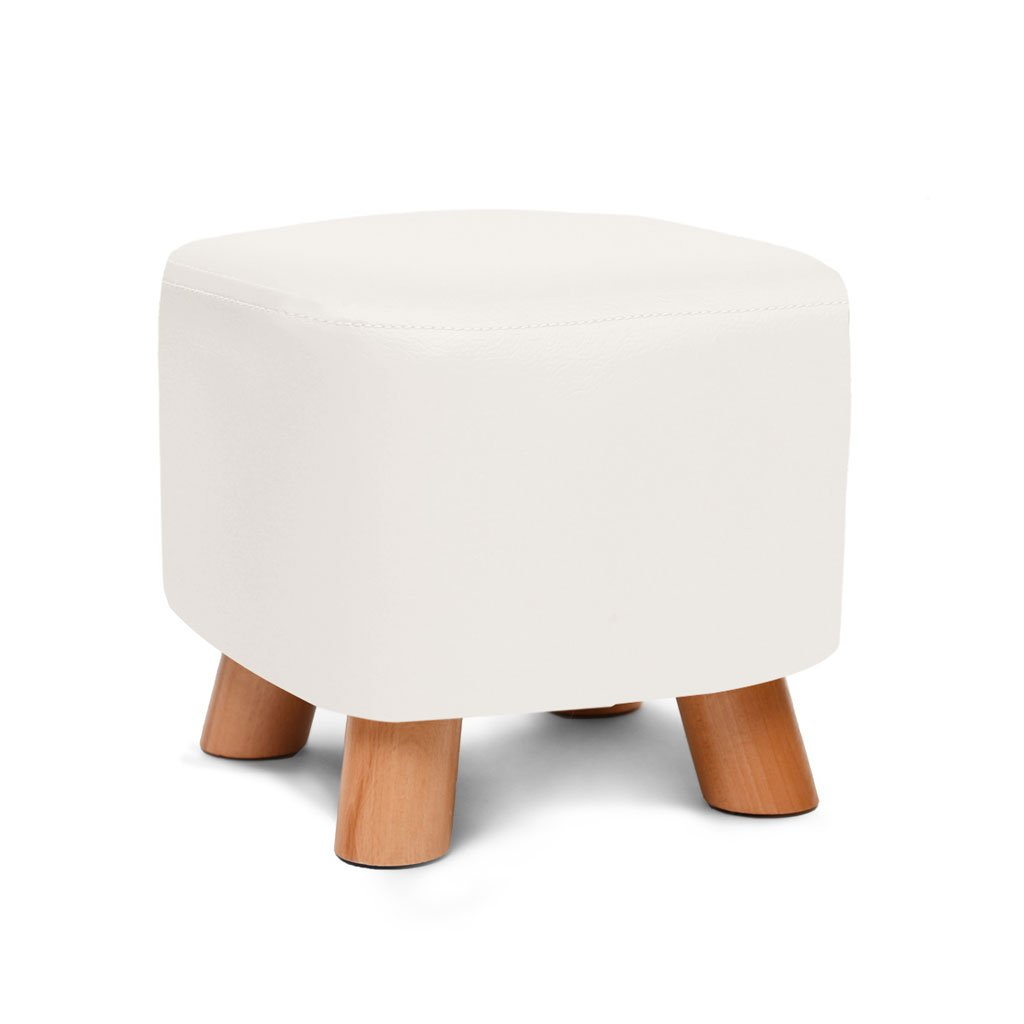 White Footstools, Stool Solid Wood shoes Stool Footstool Creative Leather Stool Fashion Sofa Stool (color   Brown)