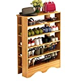 creative shoe storage FKUO Multi-Function Wooden Dust-Proof Shoe Rack Multi-Layer Shoe Rack Simple Household Storage Cabinet Shoe Cabinet Economic Storage Shelf (Red Leaf Maple, 5 Layers)
