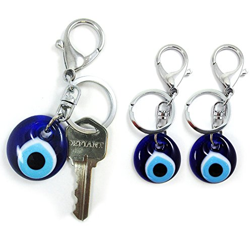 3 Blue Evil Eye Glass Keychain Ring Turkish Nazar Hamsa Good Luck Charm Amulet - Charm Evil Eyeglass
