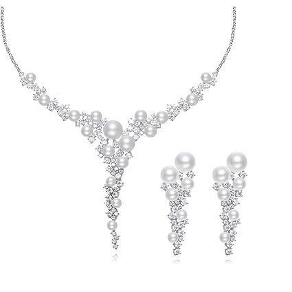 49e94ff896a4 MKHDD Nupcial Collar de Perlas Naturales Elegante Boda joyería Set Cristal  Rhinestone Zircon para Las Mujeres