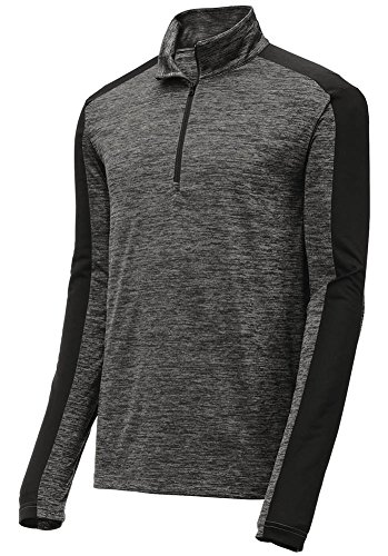 DRI-Equip 1/4 Zip Lightweight Moisture Wicking Pullover-4XL-Grey BlackElec/Black