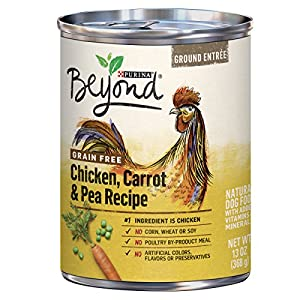 Purina Beyond Grain Free, Natural Pate Wet Dog Food, Grain Free Chicken, Carrot & Pea Recipe – (12) 13 oz. Cans