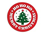 Bright Red and Green Christmas Seals - Merry Christmas Tree Seal 1.5'' Round - 250 Labels