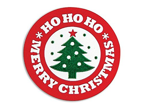 Bright Red and Green Christmas Seals - Merry Christmas Tree Seal 1.5'' Round - 250 Labels by A1 Bakery Supplies