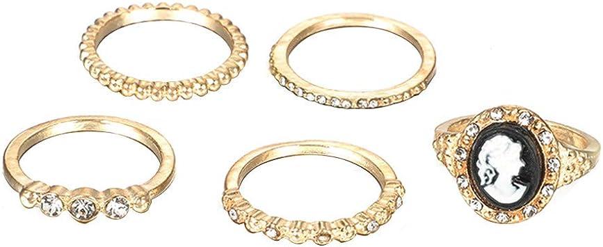 Qiiueen Anillos Mujer, Círculo Geométrico De Moda con Diamantes ...