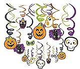 Halloween Creepy Creatures Swirl Ceiling Hanging Decoration, Pumpkin helium balloon combination