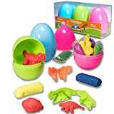 Easter Eggs with Clay Dough and Dino Toys
