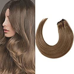 Komifa Remy Hair Extension Clip in Hair Extension Human Hair, Double Weft, Soft Natural Real Hair 100 grams 18 inch (45cm), Color No.6 Light Brown