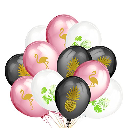 50Pcs 12 Inches Hawaiian Tropical Party Balloons Decoration,Hawaii Bachelorette Wedding Birthday Party Decoration Supplies