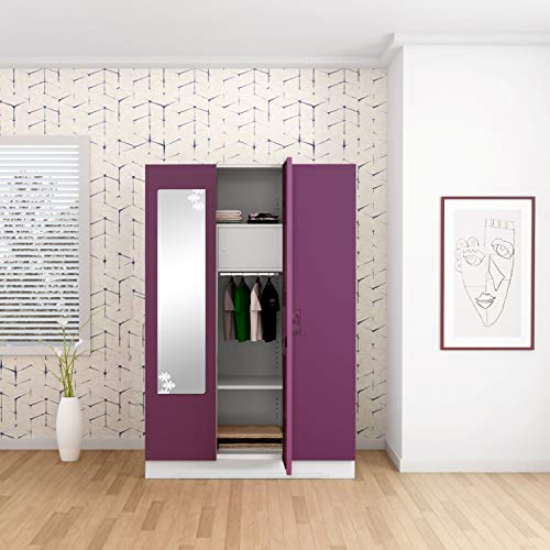 GODREJ INTERIO Slimline 3 Door Steel Almirah with Locker, Drawer, Star Mirror in Purple,Textured Finish