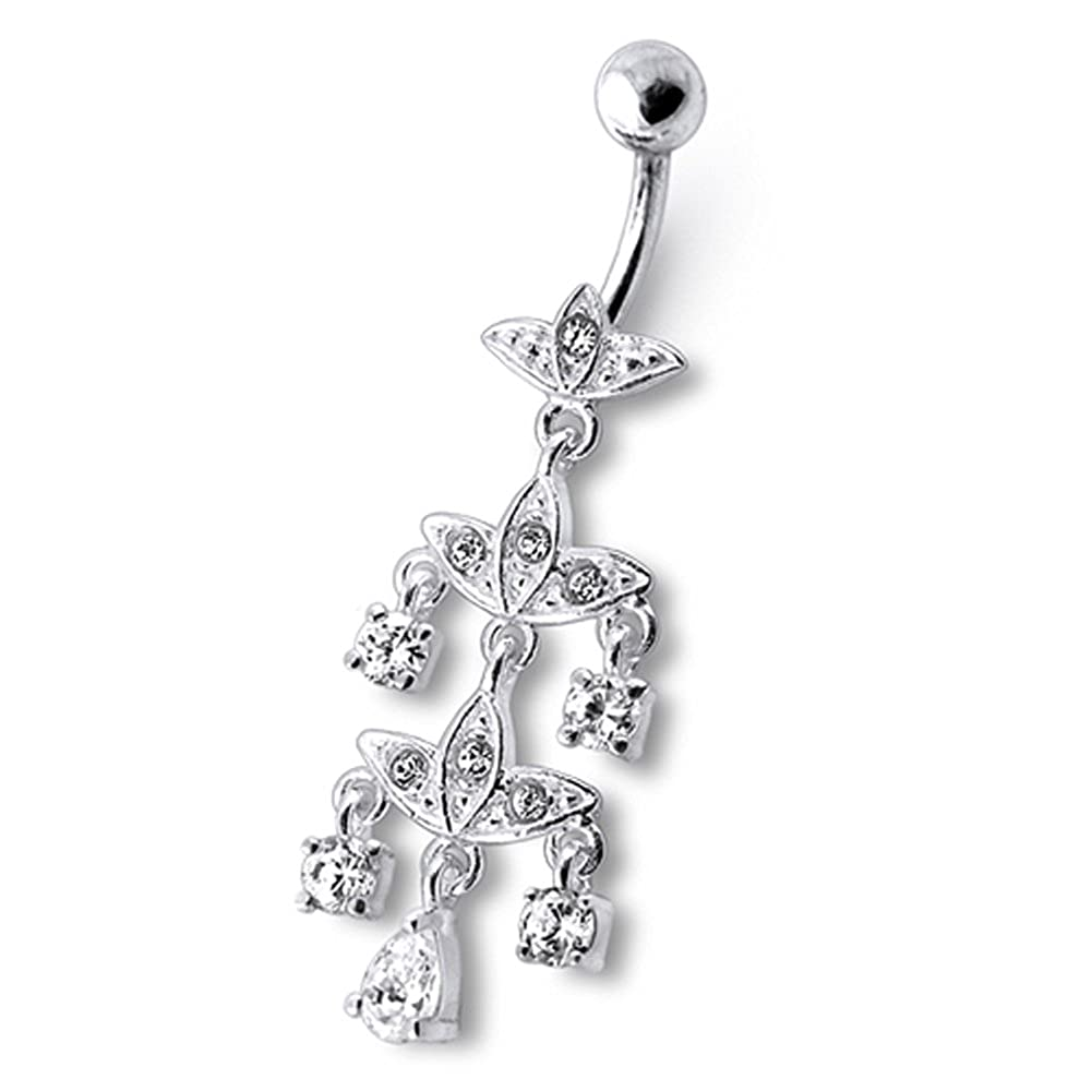 AtoZ Piercing Fancy Chandelier Designs Dangling 925 Sterling Silver with Stainless Steel Belly Button Rings